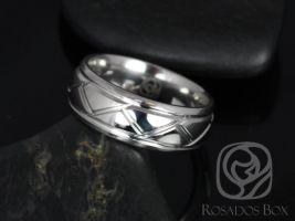 Rosados Box Edward 8mm Cobalt Laser Etched Weave Pattern High Finish Band