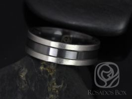 Rosados Box Parker 7mm Matte Black Zirconium Two Toned Grooved Pipe Band