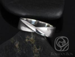 Rosados Box Basso 14kt White Gold Twisted Ribbon Band