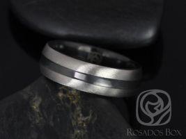 Rosados Box Owen 7mm Black Zirconium Single Striped Half Round Band