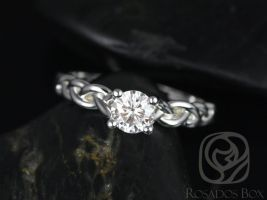 Rosados Box Prudence 5mm 14kt White Gold Round F1- Moissanite Braided Engagement Ring
