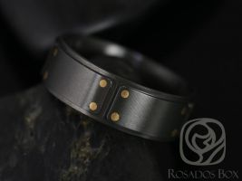 Rosados Box Bane 8mm 14kt Rose Gold & Black Zirconium Straight Pipe Raised Brick Band