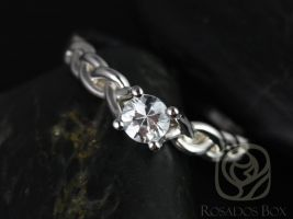 Rosados Box Prudence 5mm 14kt White Gold Round White Sapphire Braided Engagement Ring