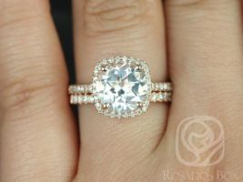 Rosados Box Barra 9mm 14kt Rose Gold Round White Topaz and Diamonds Cushion Halo Wedding Set