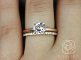 Rosados Box Alberta 7mm & Barra 14kt Rose Gold Round Morganite and Diamonds Tulip Solitaire Wedding Set