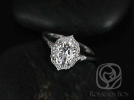Rosados Box Ready to Ship Mae 8x6mm 14kt YELLOW Gold Oval F1- Moissanite and Diamond Halo WITH Milgrain Engagement Ring
