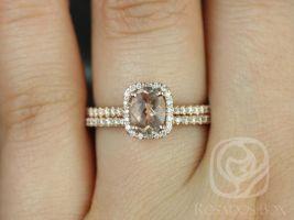 Rosados Box Romani 7x5mm Rose Gold Oval Oregon Sunstone and Cushion Halo Diamond Classic Wedding Set