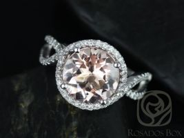 Rosados Box Kendra 10mm 14kt White Gold Round Morganite and Diamonds Halo Twist Engagement Ring