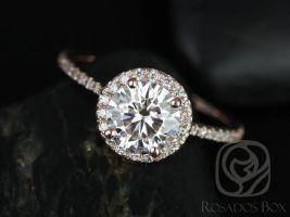 Rosados Box Kimberly 7.5mm 14kt Rose Gold Round F1- Moissanite and Diamonds Halo Engagement Ring