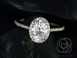 Rosados Box Rebecca 8x6mm 14kt Rose Gold Oval F1- Moissanite and Diamond Halo Engagement Ring
