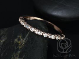 Rosados Box Ivanna 14kt Rose Gold Round & Baguette Diamonds WITHOUT Milgrain HALFWAY Eternity Band