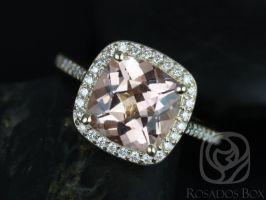 Rosados Box Hollie 9mm 14kt Yellow Gold Cushion Morganite and Diamonds Halo Engagement Ring