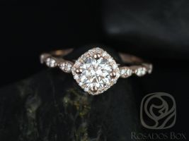 Rosados Box Katya 6mm 14kt Rose Gold Round F1- Moissanite and Diamonds Kite Halo WITHOUT Milgrain Engagement Ring