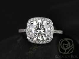 Rosados Box Hollie 9mm 14kt White Gold Cushion F1- Moissanite and Diamonds Halo Engagement Ring