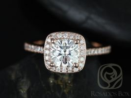 Rosados Box Hollie 6mm 14kt Rose Gold Cushion F1- Moissanite and Diamonds Halo Engagement Ring