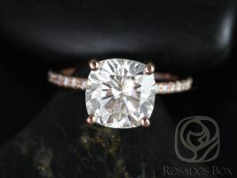 Rosados Box Heidi 9mm 14kt Rose Gold Cushion F1- Moissanite and Diamond Basket Engagement Ring