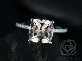 Rosados Box Heidi 9mm 14kt White Gold Cushion Morganite and Diamond Basket Engagement Ring