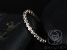 Rosados Box Petite Bubbles 14kt Rose Gold WITHOUT Milgrain Diamonds ALMOST Eternity Band