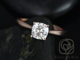 Rosados Box Florence 6.5mm Rose Gold Cushion F1- Moissanite Cathedral Solitaire Engagement Ring