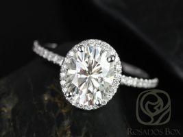 Rosados Box Federella 9x7mm Platinum Oval Forever One Moissanite Diamond Halo Engagement Ring