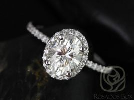 Rosados Box Federella 8x6mm 14kt White Gold Oval F1- Moissanite and Diamond Halo Engagement Ring
