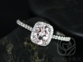 Rosados Box Ready to Ship Romani 7x5mm 14kt White Gold Morganite and Diamonds Cushion Halo Engagement Ring