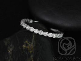 Rosados Box Ready to Ship Petite Bubbles 14kt ROSE Gold Diamonds WITH Hand Milgrain Beading ALMOST Eternity Band