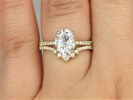 2cts EXTRA LOW Viviana 9x7mm & Aldis 14kt Solid Gold Forever One Moissanite Diamonds Dainty Scarf Halo Oval Wedding Set Rings,Rosados Box