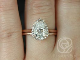 Rosados Box Jorie 10x7mm & Momo 14kt Rose Gold Pear F1- Moissanite and Diamonds Extra Low Profile Halo Wedding Set
