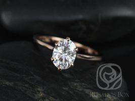 Rosados Box Skinny Lexus 8x6mm 14kt Rose Gold Oval F1- Moissanite Tulip Six-Prong Cathedral Solitaire Engagement Ring