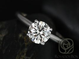 Rosados Box Alberta 7.5mm White Gold Round Forever One Moissanite Tulip Solitaire Engagement Ring