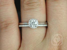 Rosados Box Amerie 4.5mm & Marcelle 14kt White Gold Round Halo F1- Moissanite and Diamond Wedding Set