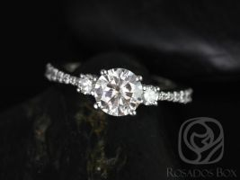 Rosados Box Amy 7mm 14kt White Gold Round Forever One Moissanite Diamonds Tapered 3 Stone Engagement Ring