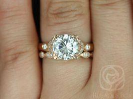 Rosados Box Antoinette 8.5mm & Christie 14kt Gold Round Forever One Moissanite Diamonds Vintage Milgrain Wedding Set