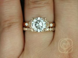 Rosados Box Antoinette 8.5mm & Ivanna 14kt Rose Gold Round Forever One Moissanite Diamonds Vintage Milgrain Wedding Set