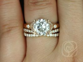 Rosados Box Antoinette 8.5mm & Lima 14kt Rose Gold Round Forever One Moissanite Diamonds Vintage Milgrain Wedding Set