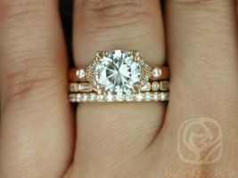 Rosados Box Antoinette 8.5mm, Ivanna, & Taylor 14kt Round Forever One Moissanite Diamonds Vintage Milgrain TRIO Wedding Set