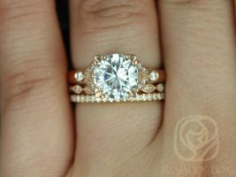 Rosados Box Antoinette 8.5mm, Ultra Petite Leah, & Catalina 14kt Round Forever One Moissanite Diamonds Vintage Milgrain TRIO Wedding Set