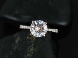 Rosados Box Taylor 9mm 14kt Rose Gold Round White Topaz and Diamond Cathedral Engagement Ring