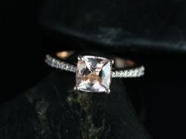Rosados Box Taylor 7mm 14kt Rose Gold Cushion Morganite and Diamond Cathedral Engagement Ring