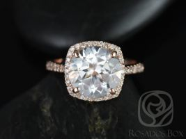 Rosados Box Barra 10mm 14kt Rose Gold Round White Topaz and Diamond Cushion Halo Engagement Ring