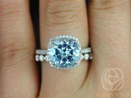 Rosados Box Barra 10mm & Medio Naomi 14kt White Gold Round  Blue Topaz and Diamond Cushion Halo Wedding Set