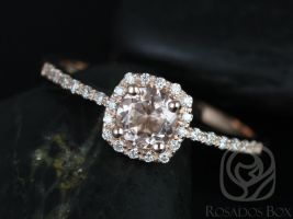 Rosados Box Barra 5mm 14kt Rose Gold Round Morganite and Diamonds Cushion Halo Engagement Ring