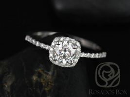 Rosados Box Barra 5mm 14kt White Gold Round F1- Moissanite and Diamond Cushion Halo Engagement Ring