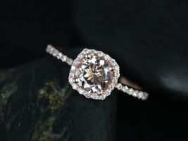 Rosados Box Barra 6mm 14kt Rose Gold Round Morganite and Diamonds Cushion Halo Engagement Ring