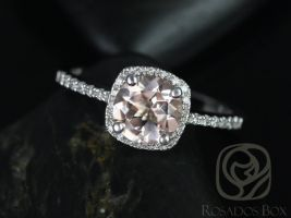 Rosados Box Barra 7mm 14kt White Gold Round Morganite and Diamond Cushion Halo Engagement Ring