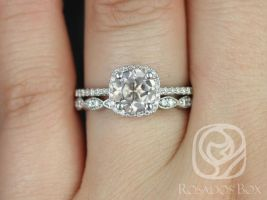 Rosados Box Barra 7mm & Christie 14kt White Gold Round Morganite and Diamond Cushion Halo Wedding Set