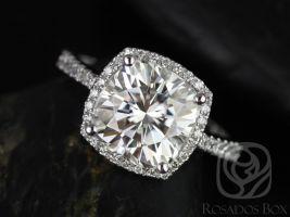 Rosados Box Randi 9mm 14kt White Gold Cushion F1- Moissanite and Diamond Cushion Halo Engagement Ring