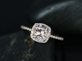 Rosados Box Barra 7mm 14kt Rose Gold Round Morganite and Diamond Cushion Halo Engagement Ring