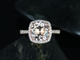 Rosados Box Barra 9mm 14kt Rose Gold Round Morganite Cushion Halo Engagement Ring